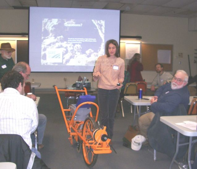Equipment demo at the Maryland Organic Food and Farming Association winter Meeting